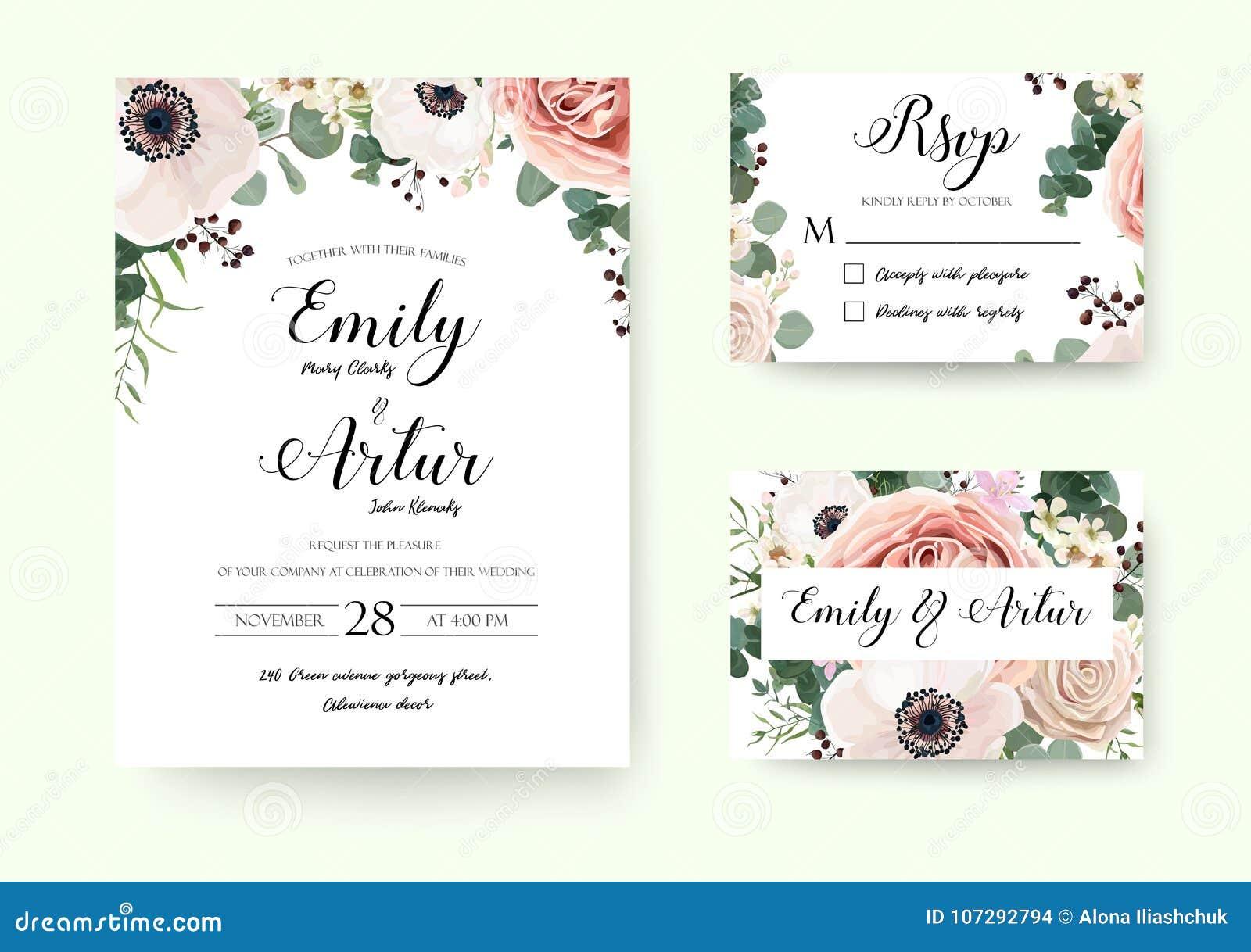 wedding invitation floral invite rsvp cute card vector designs s