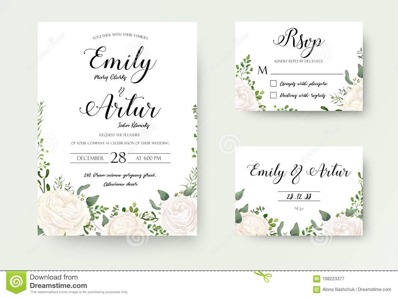 Wedding Invitation floral invite Rsvp cute card vector Designs s