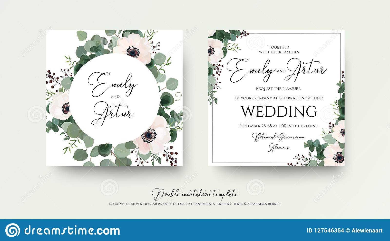 Wedding Invitation, Floral Invite Square Card Design: Light Pink