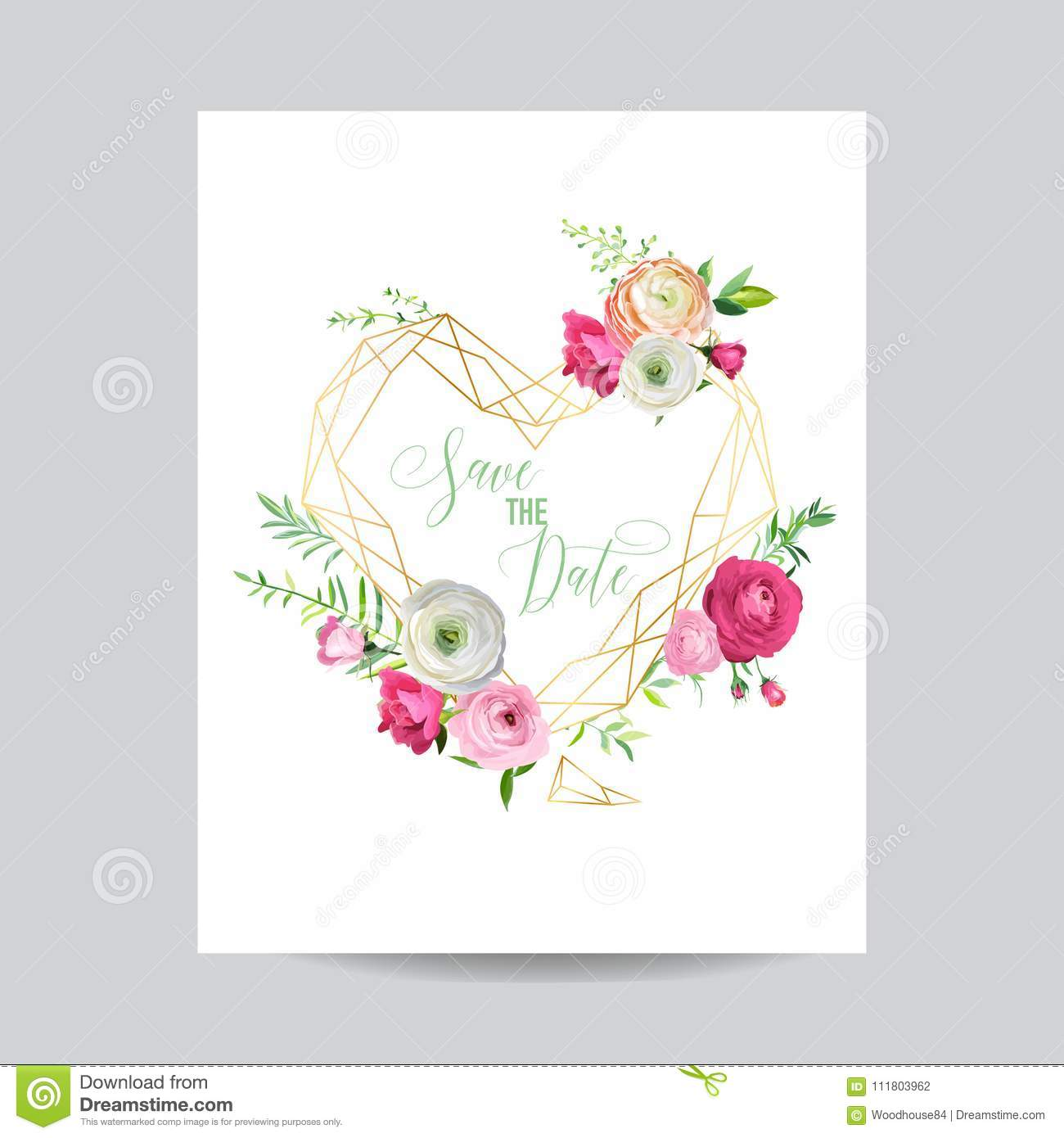 Wedding Invitation Floral Template Save The Date Heart Frame With - Save the date text template