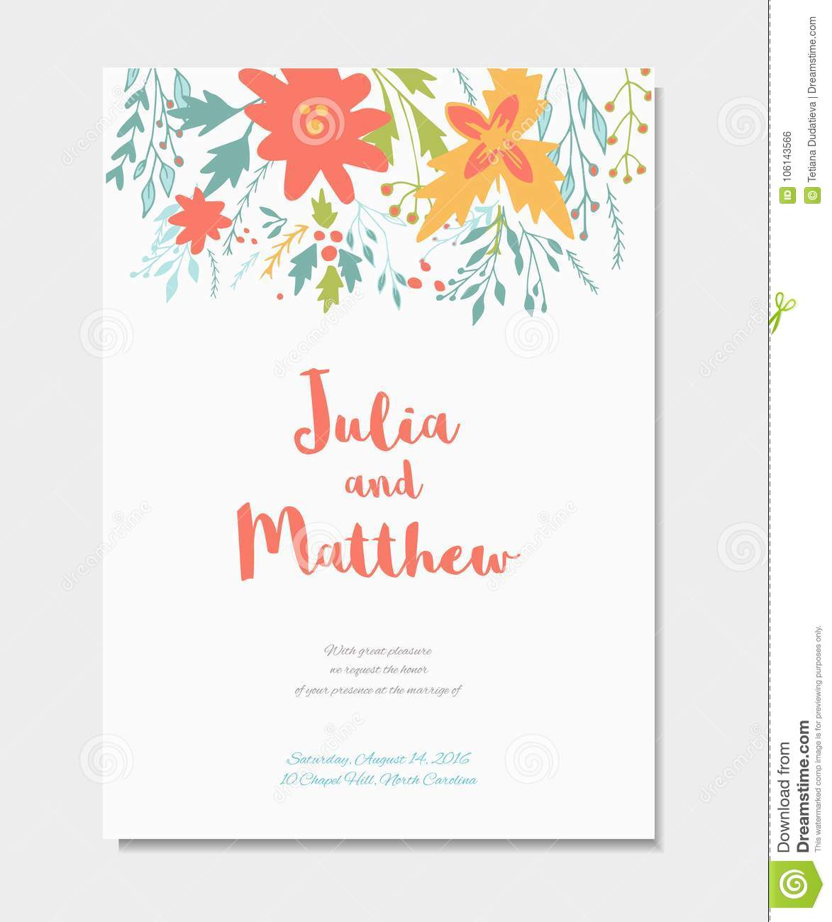 Wedding Invitation With Floral Wreath Flowers Vector Template