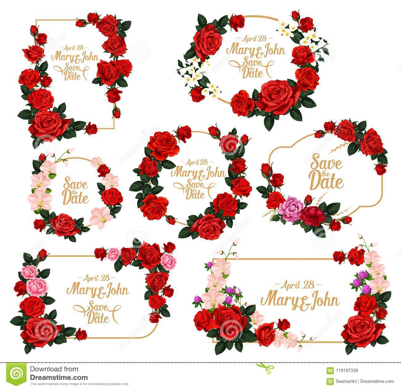 Wedding Invitation Flower Frame With Save The Date Stock Vector ...