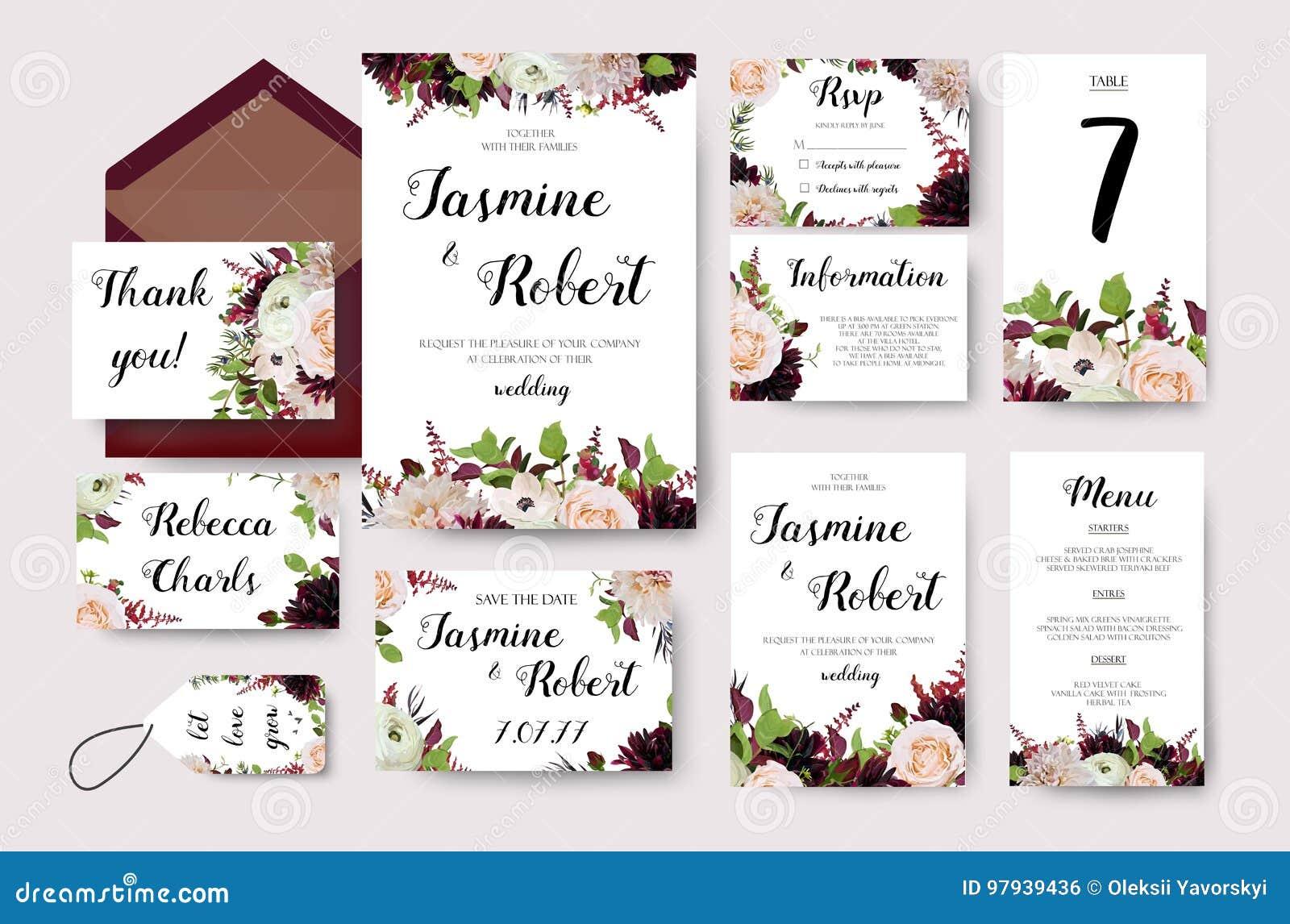 wedding invitation flower invite card design with garden peach stock