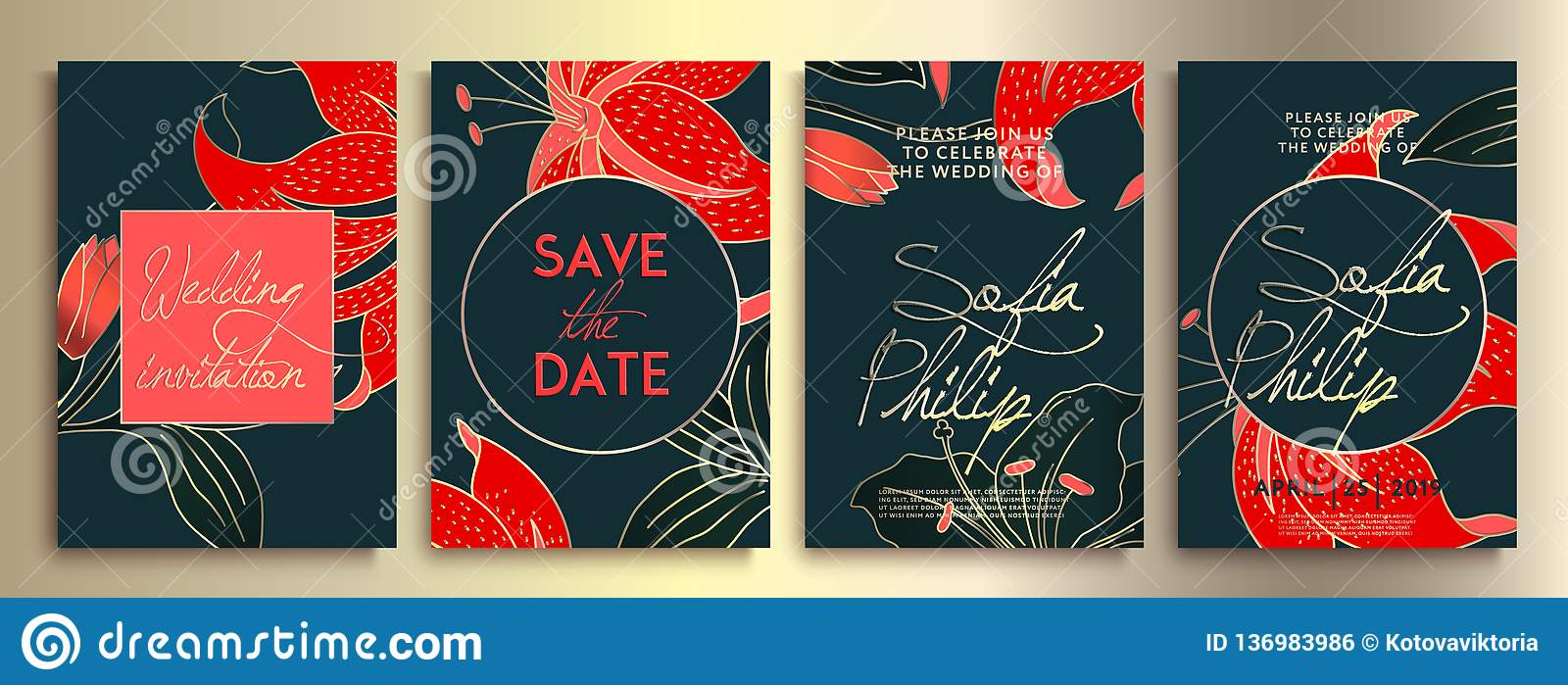 Wedding invitation with flowers and leaves on dark texture. luxury card on blue backgrounds, artistic covers design, colorful.