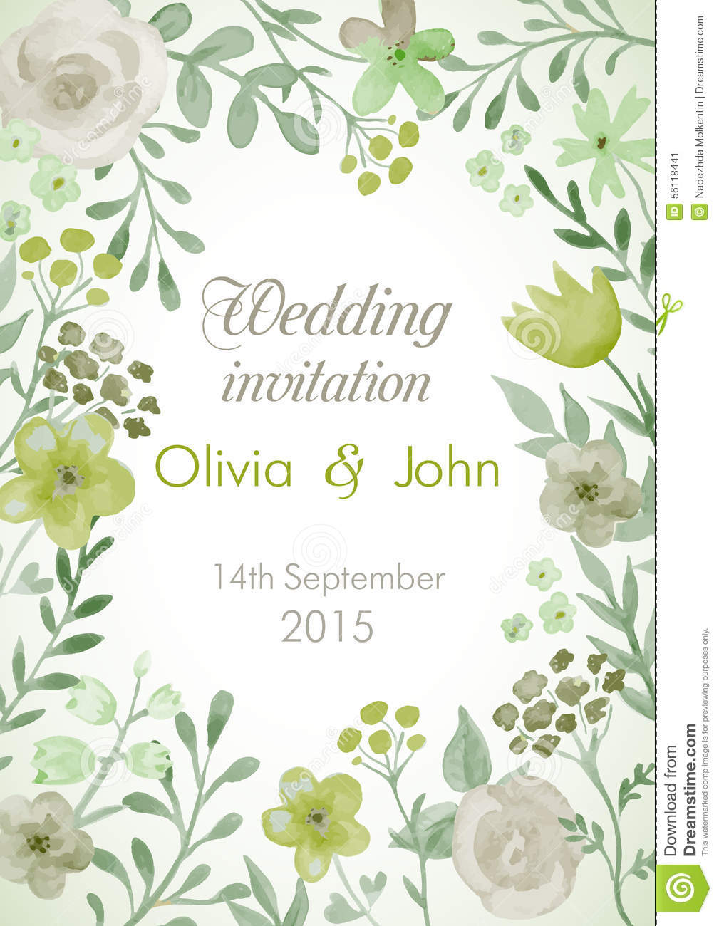 Wedding invitation with flowers and leaves stock vector download comp stopboris Image collections