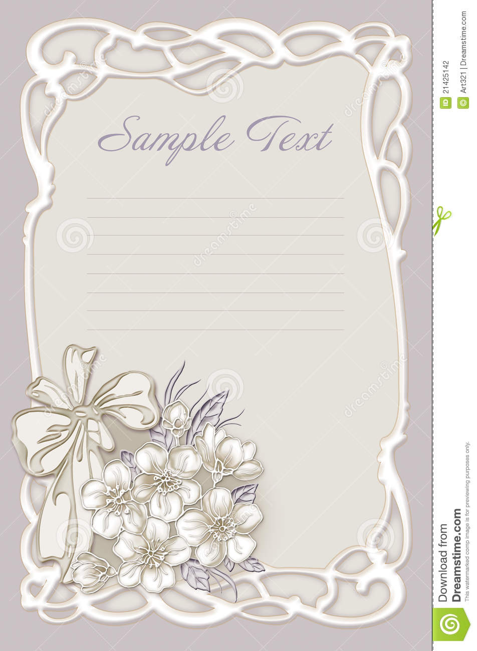 Wedding Invitation Frame With Flowers Stock Photography