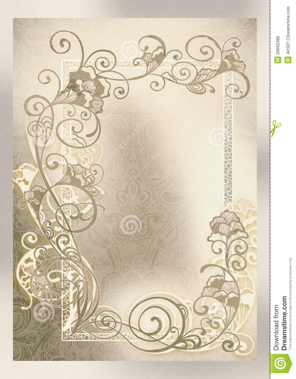 Wedding Invitation Frame Lacelike Stock Illustration