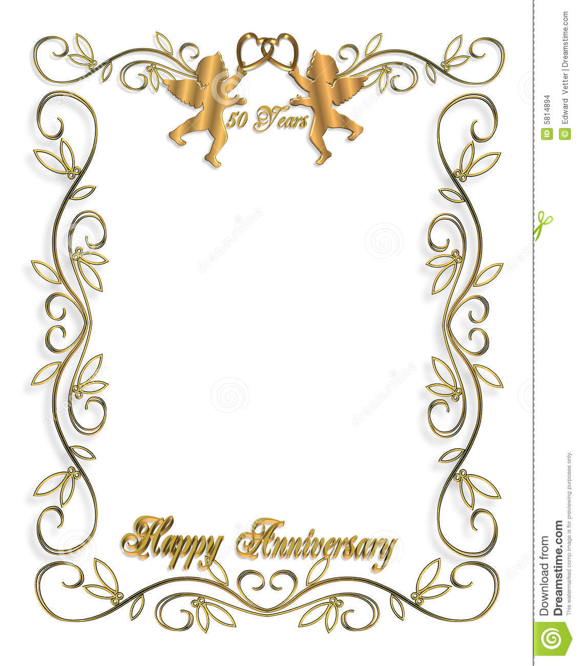 Wedding Invitation Gold 50th Stock Illustration
