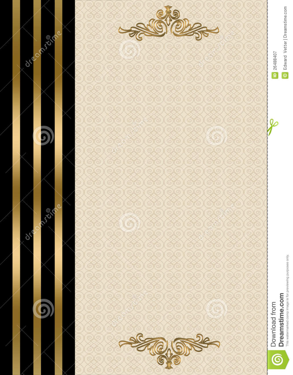 wedding invitation gold and black border stock