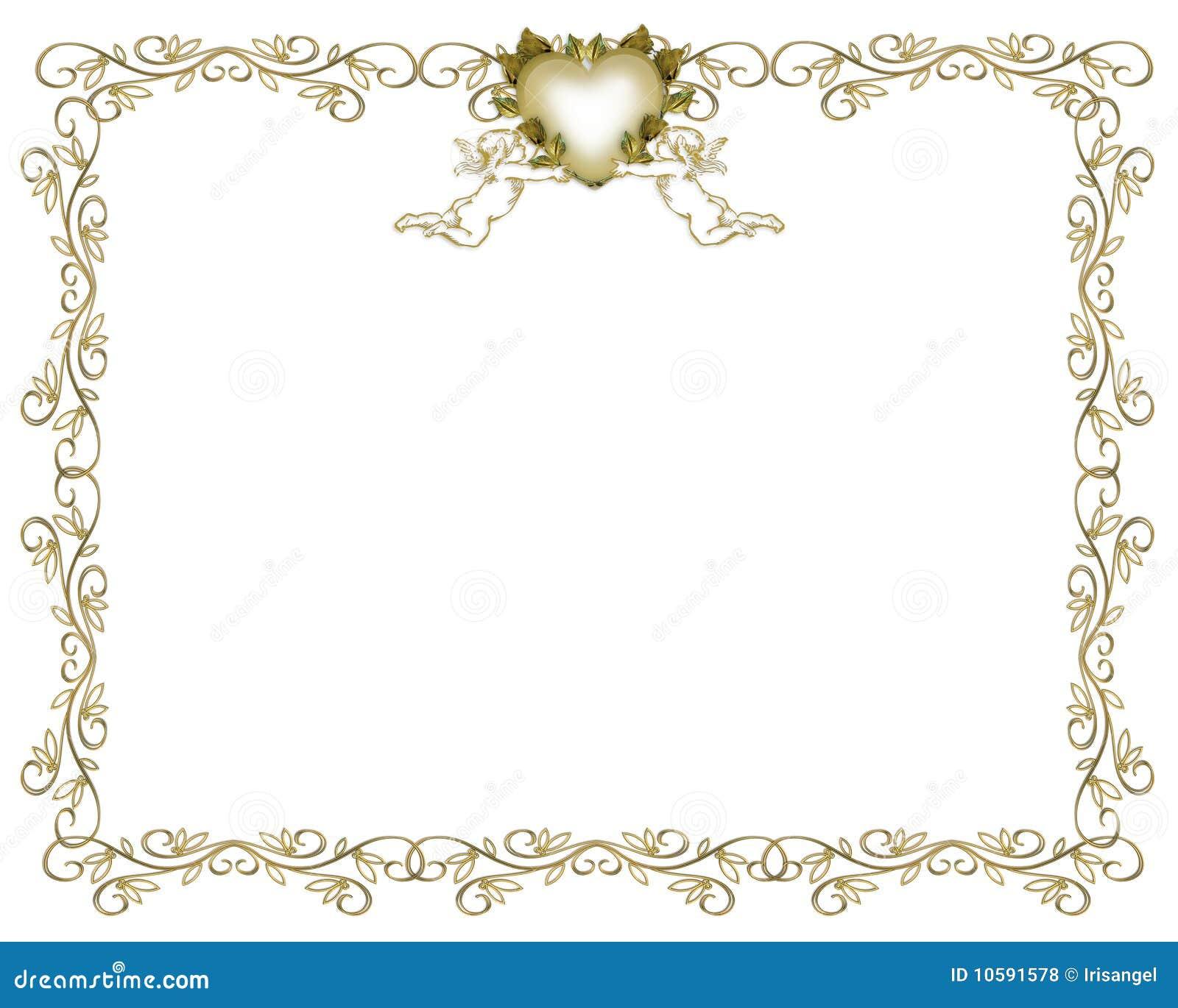 Wedding Invitation Gold Border Angels