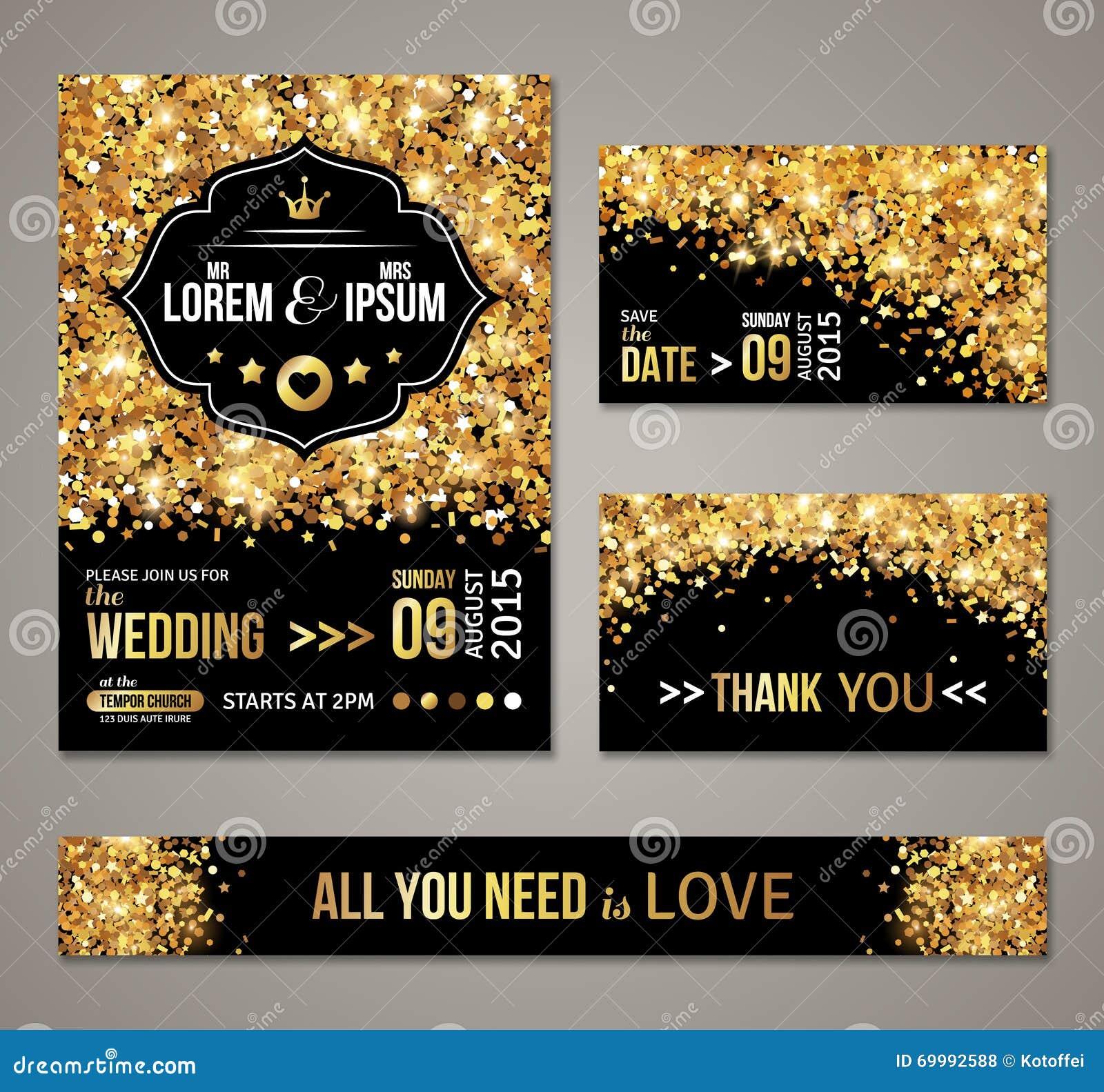 Wedding Invitation Gold Confetti And Black Background Stock