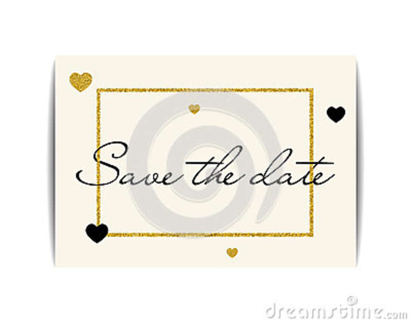 Wedding Invitation With Gold Glitter Hearts Save The Date Stock