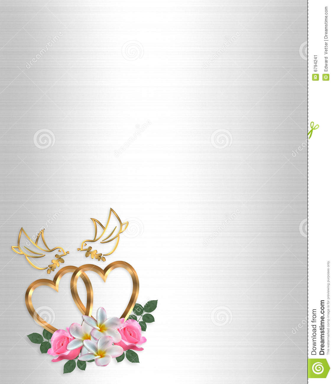 wedding invitation gold heart and doves stock illustration