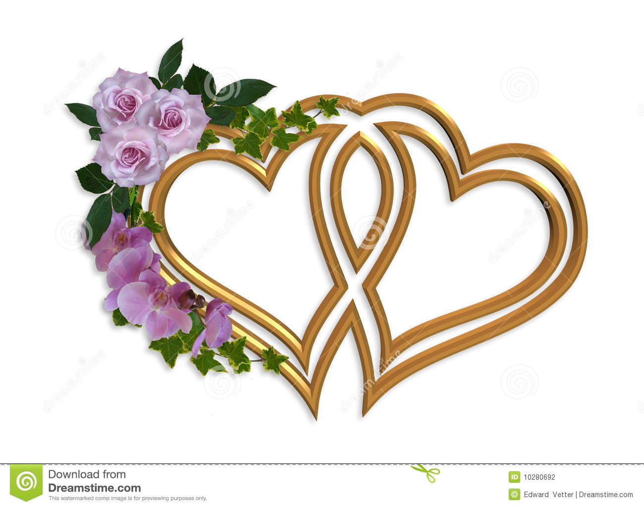 wedding invitation gold hearts stock illustration