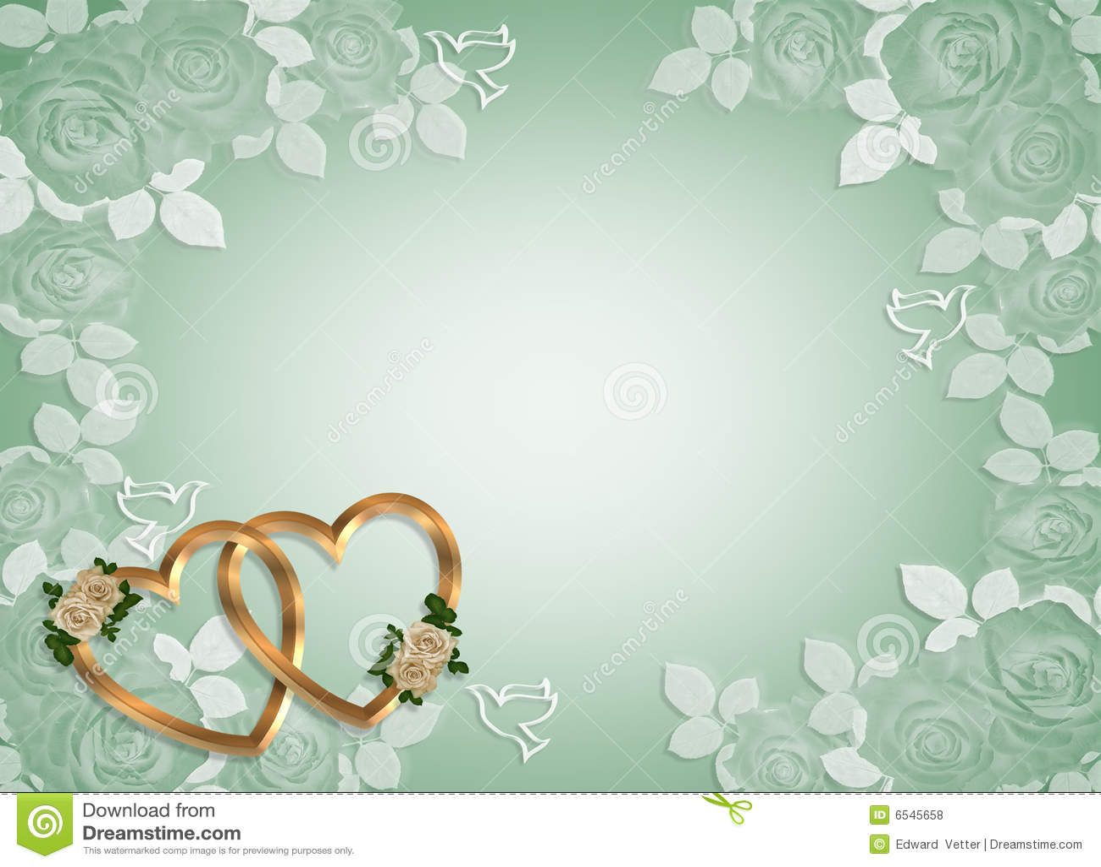 Wedding Invitation Gold Hearts Stock Illustration Illustration Of