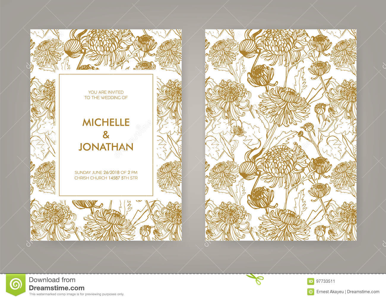 Wedding Invitation With Golden Japanese Chrysanthemum Vertical Card ...