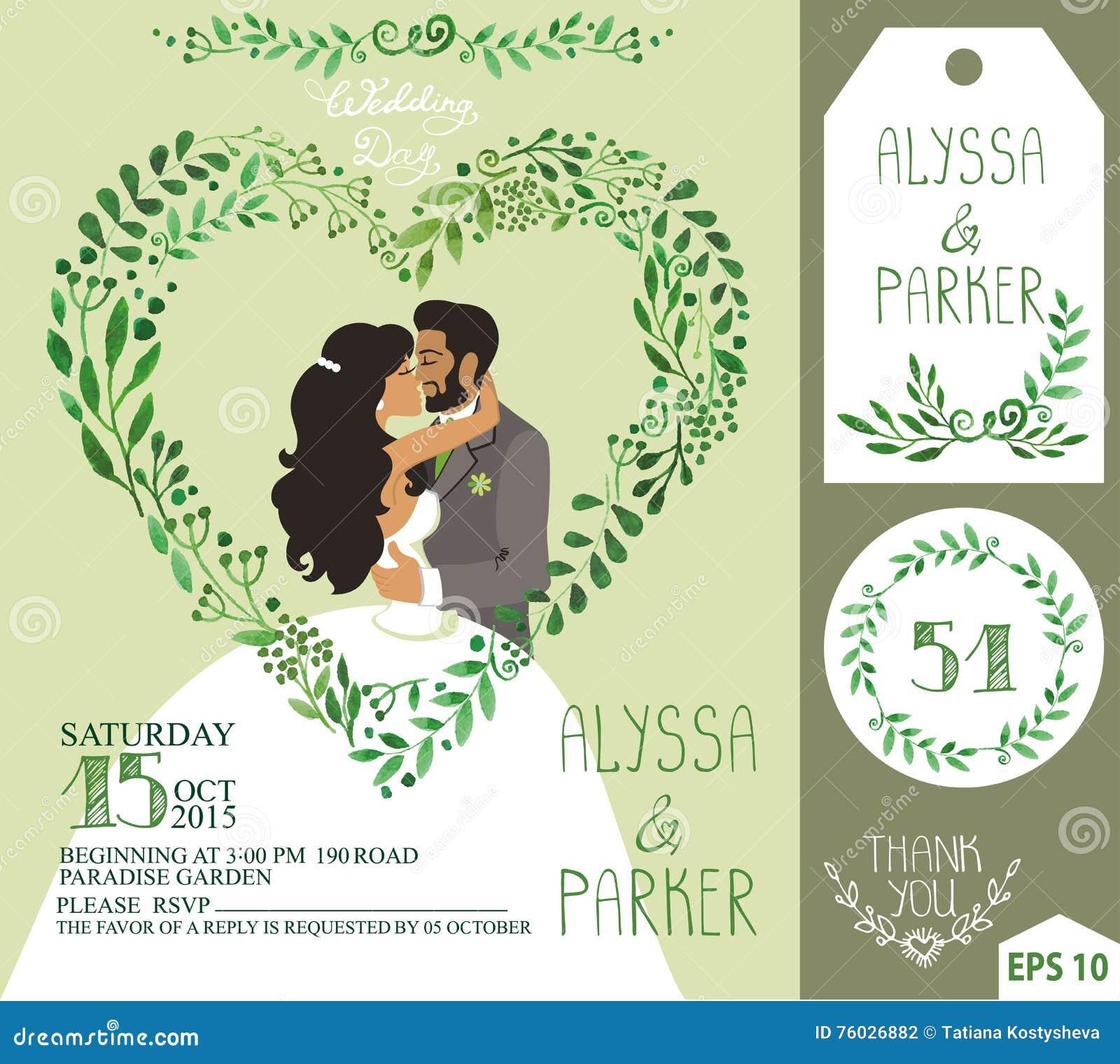 Wedding Invitation Green Branches Heart Kissing Bride Groom Stock