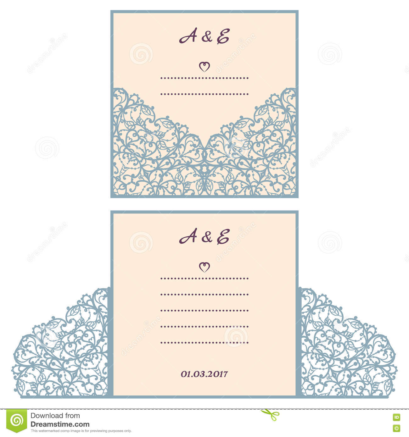 Wedding Invitation Or Greeting Card With Abstract Ornament Vector Envelope Template For Laser Cutting