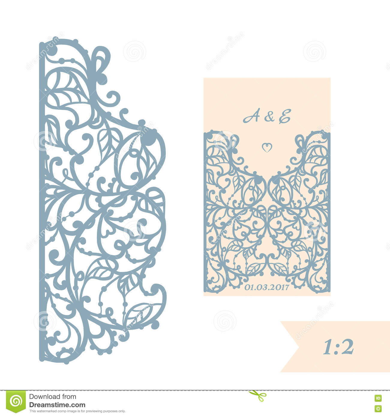 Wedding Invitation Or Greeting Card With Abstract Ornament. Vector ...
