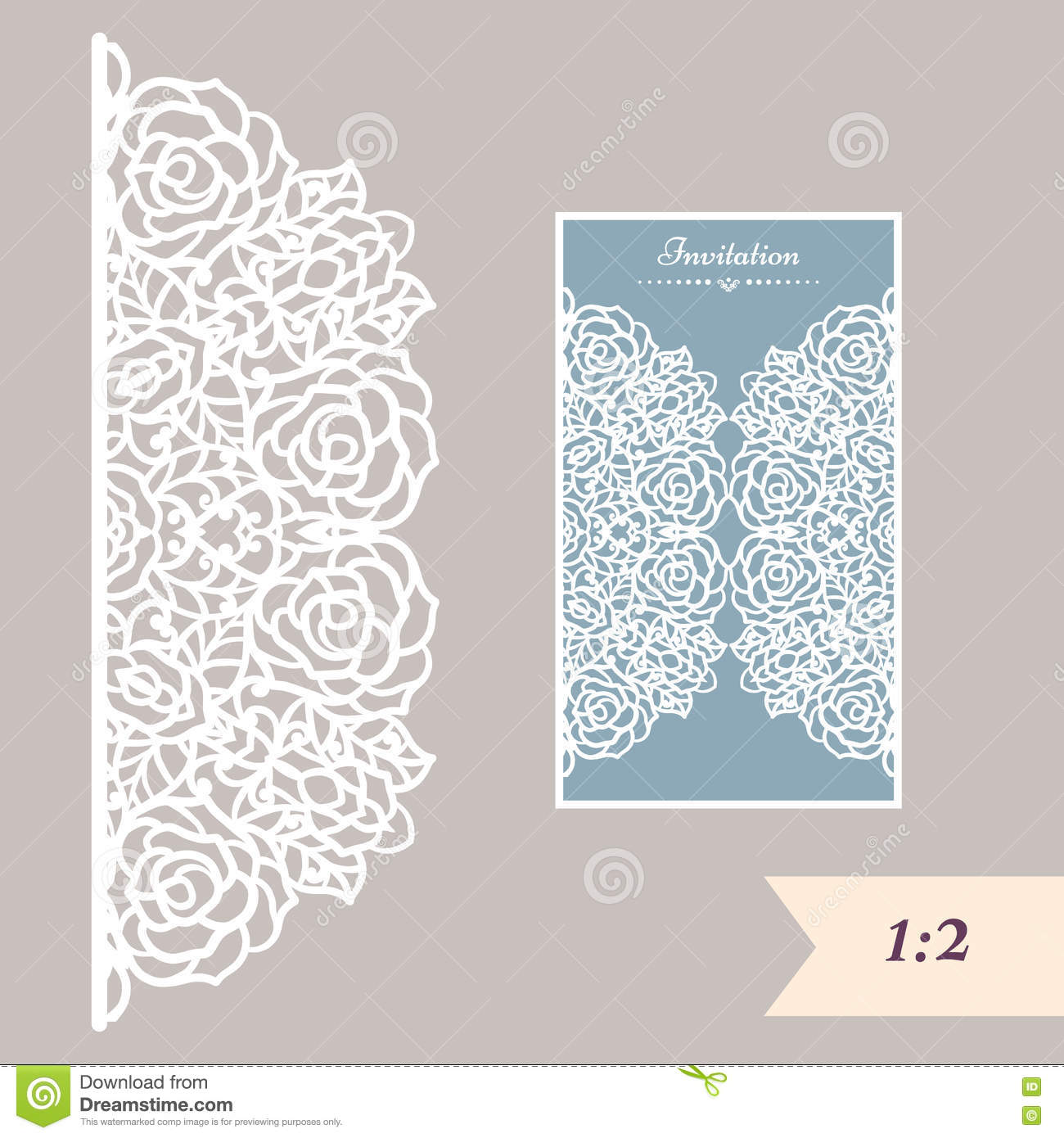 Wedding Invitation Or Greeting Card With Abstract Ornament. Vector ... for Laser Cut Designs Paper  1lp1fsj