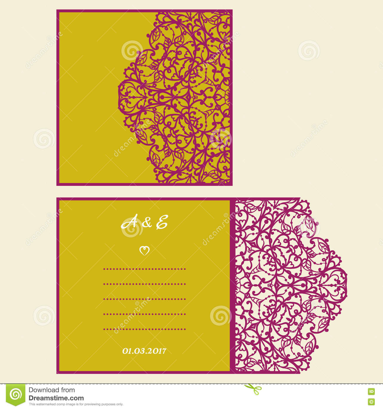 Wedding invitation or greeting card with abstract ornament. Vector envelope template for laser cutting. Paper cut card