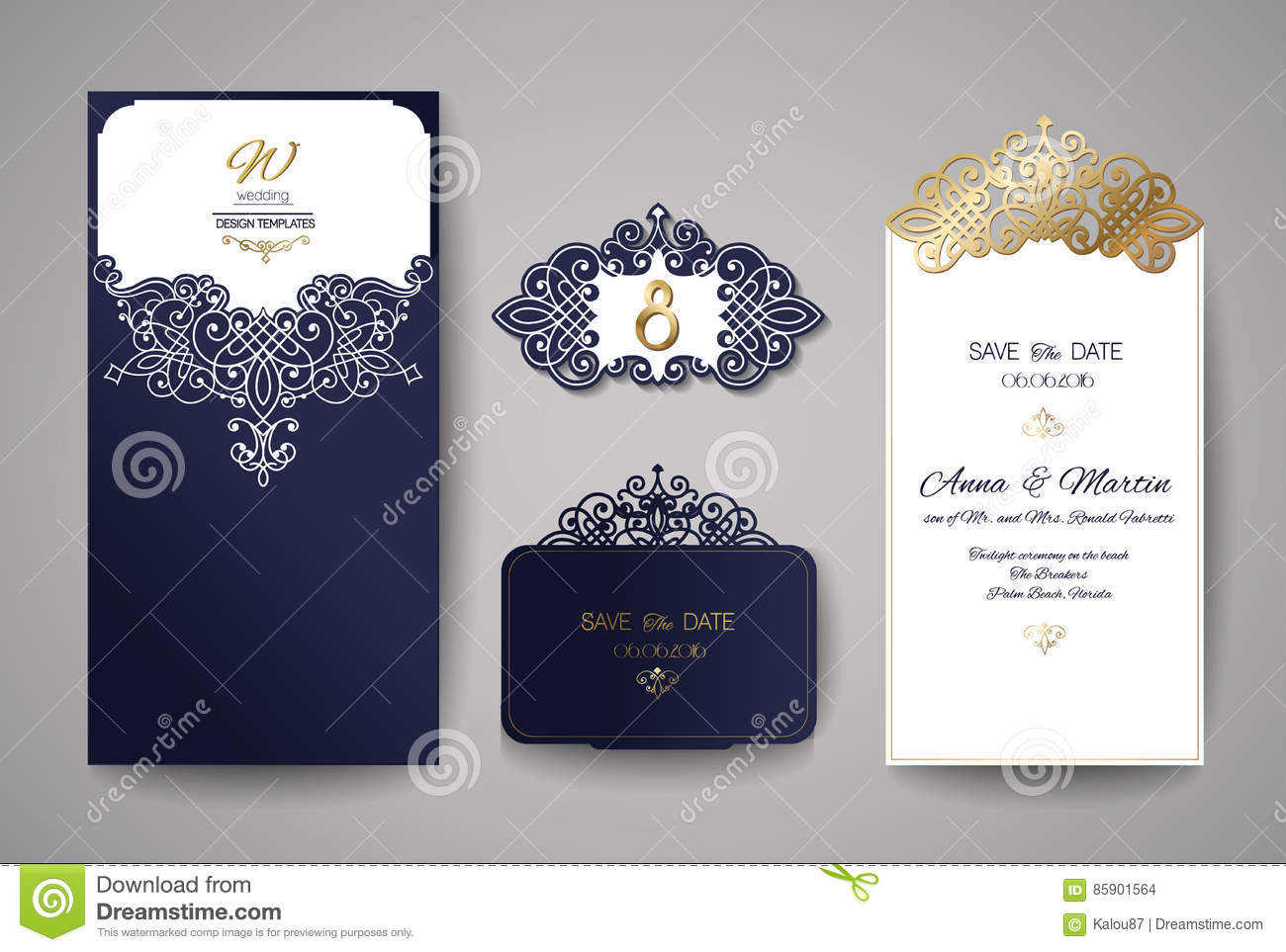 Wedding Invitation Or Greeting Card With Gold Floral Ornament ...