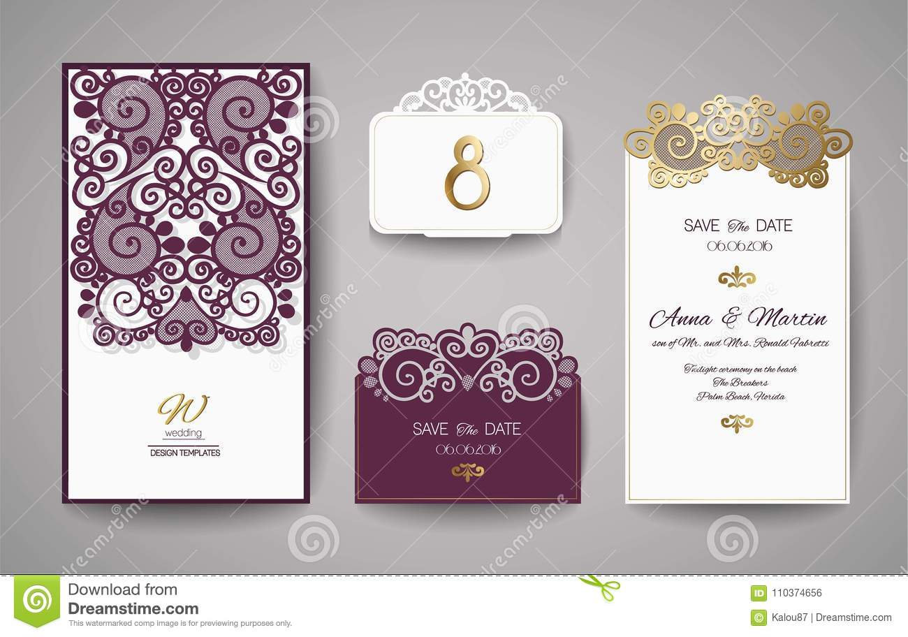 Wedding Invitation Or Greeting Card With Gold Floral Ornament. Wedding  Invitation Envelope For Laser Cutting. Stock Vector - Illustration of  lazer, layout: 110374656