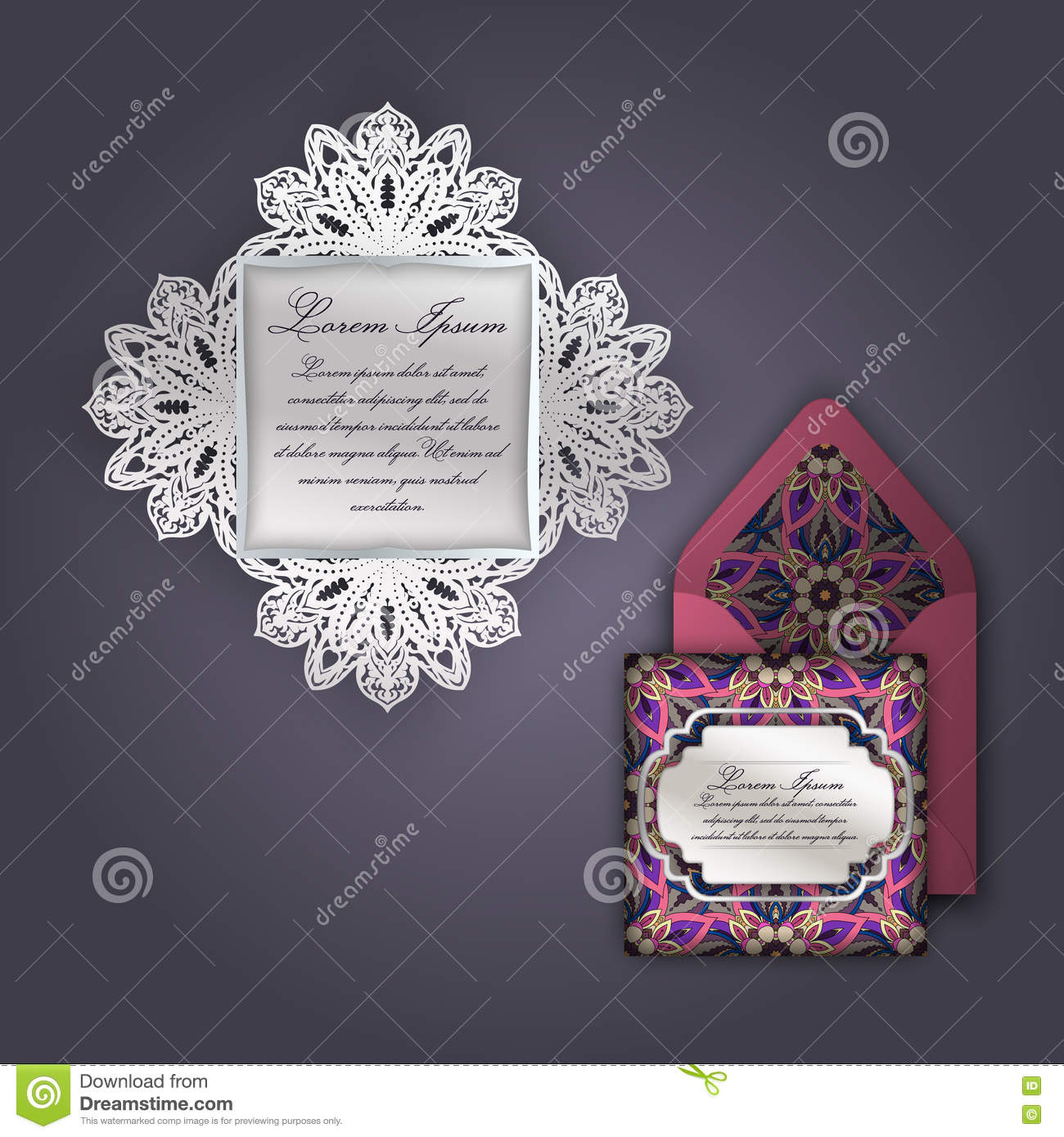 Wedding Invitation Or Greeting Card With Vintage Floral Ornament ...