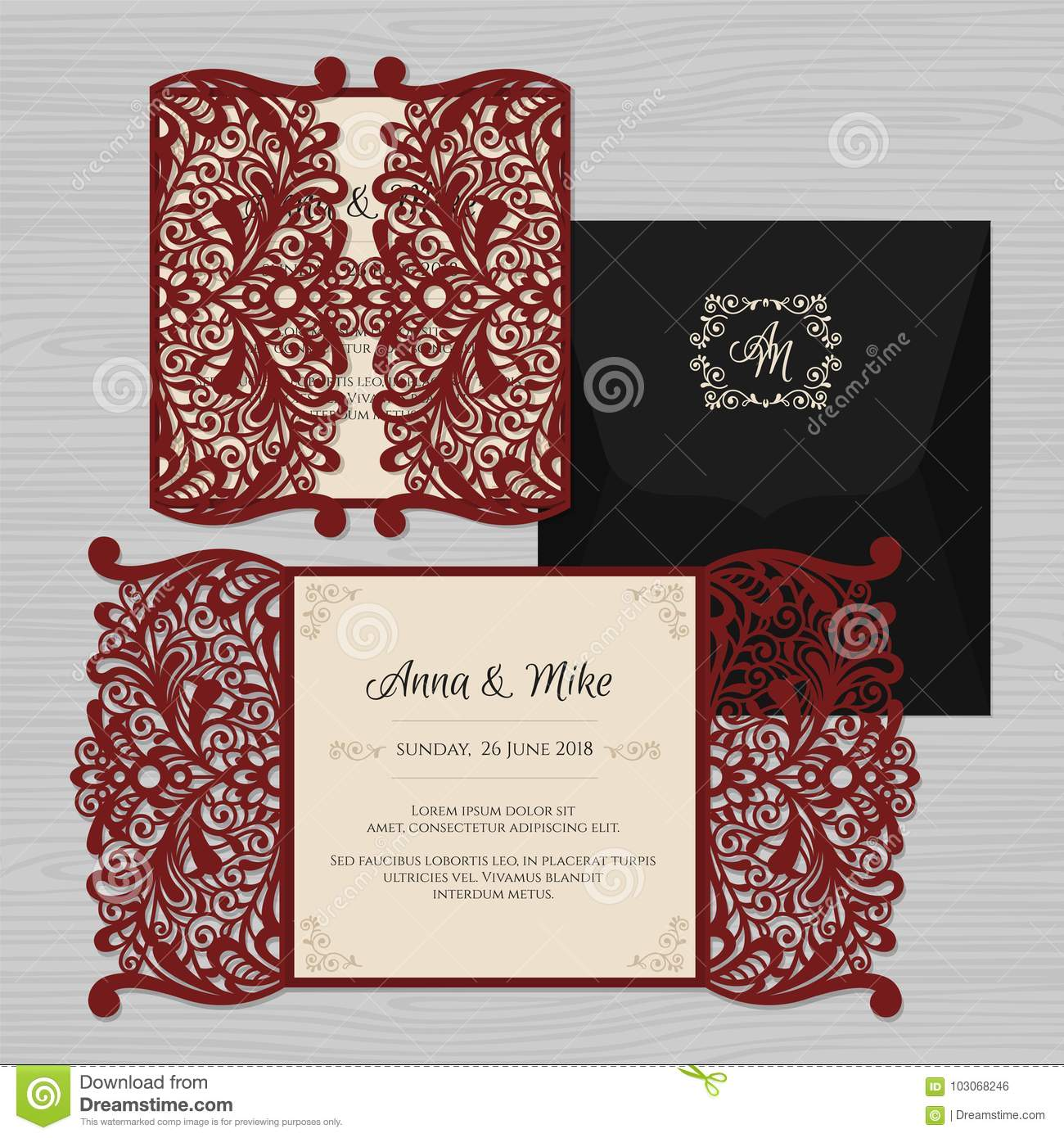 Wedding Invitation Or Greeting Card With Vintage Ornament. Paper ...