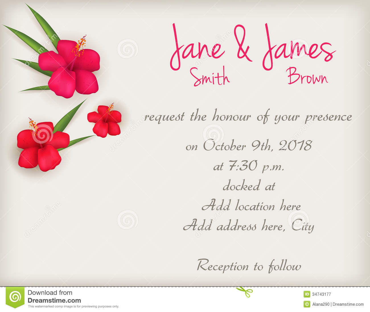 Wedding Invitation With Hibiscus Flowers Stock Vector - Image: 34743177