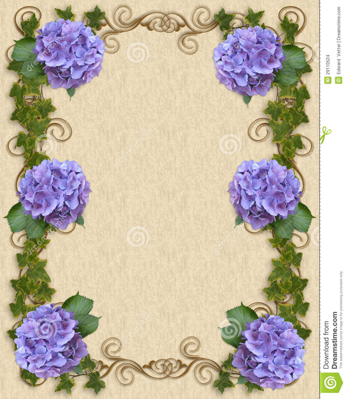 Hydrangea And Ivy Wedding Invitation Template Stock ...