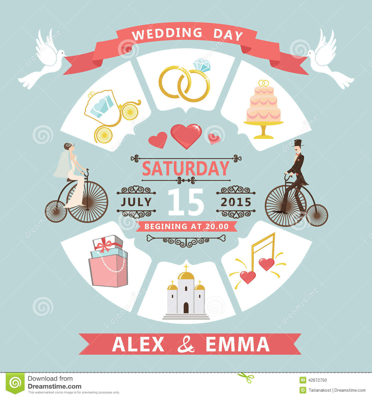 Wedding Invitation In Infographic Style. Bride,groom On Retro Bi ...