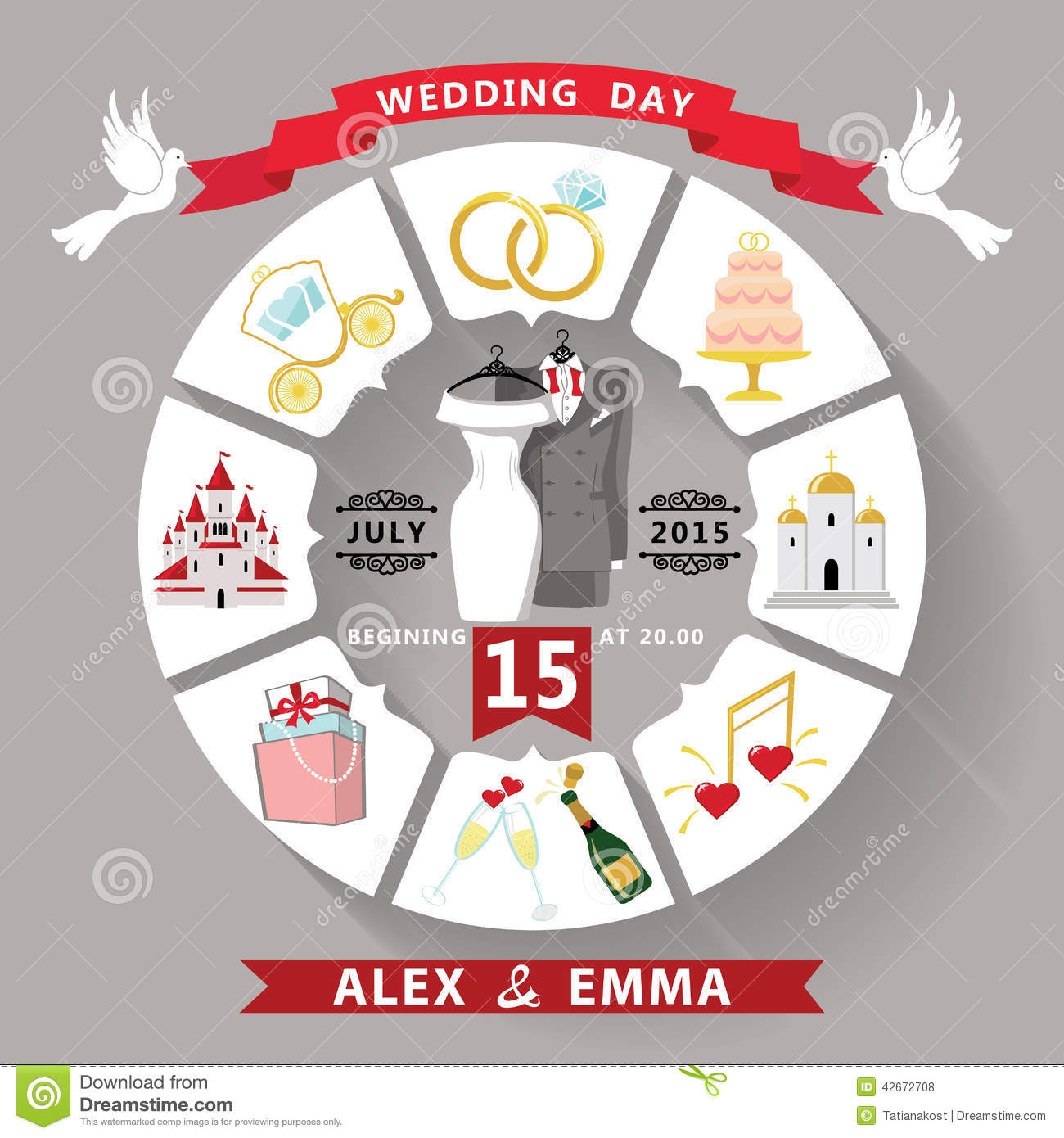 Wedding Invitation In Infographic Style.Wedding Wear Stock
