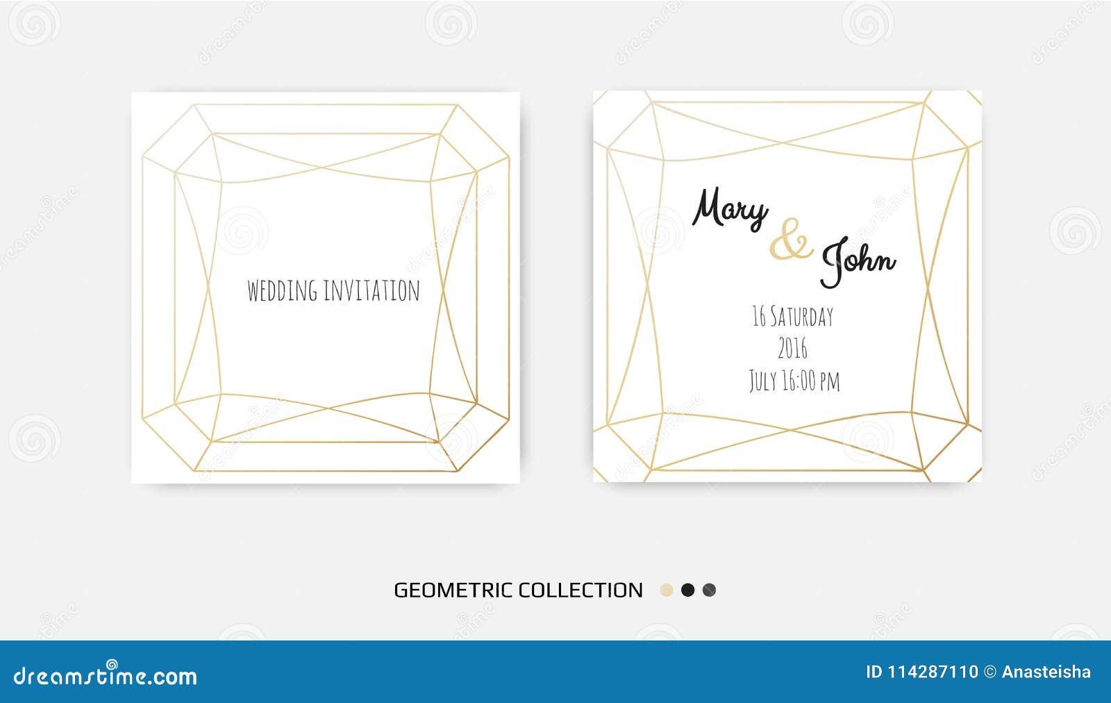 Wedding Invitation Invite Card Design With Geometrical Art