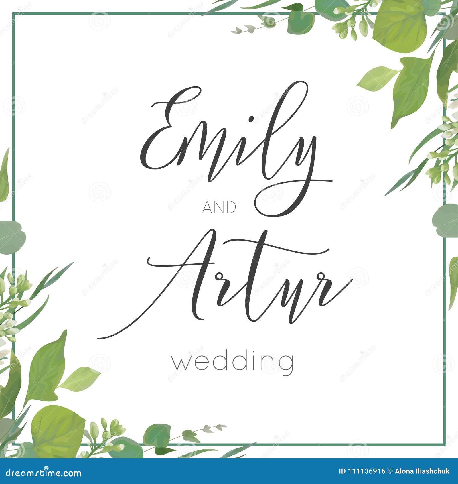 Wedding Invitation, Invite, Save The Date Card Design. Green Wat ...
