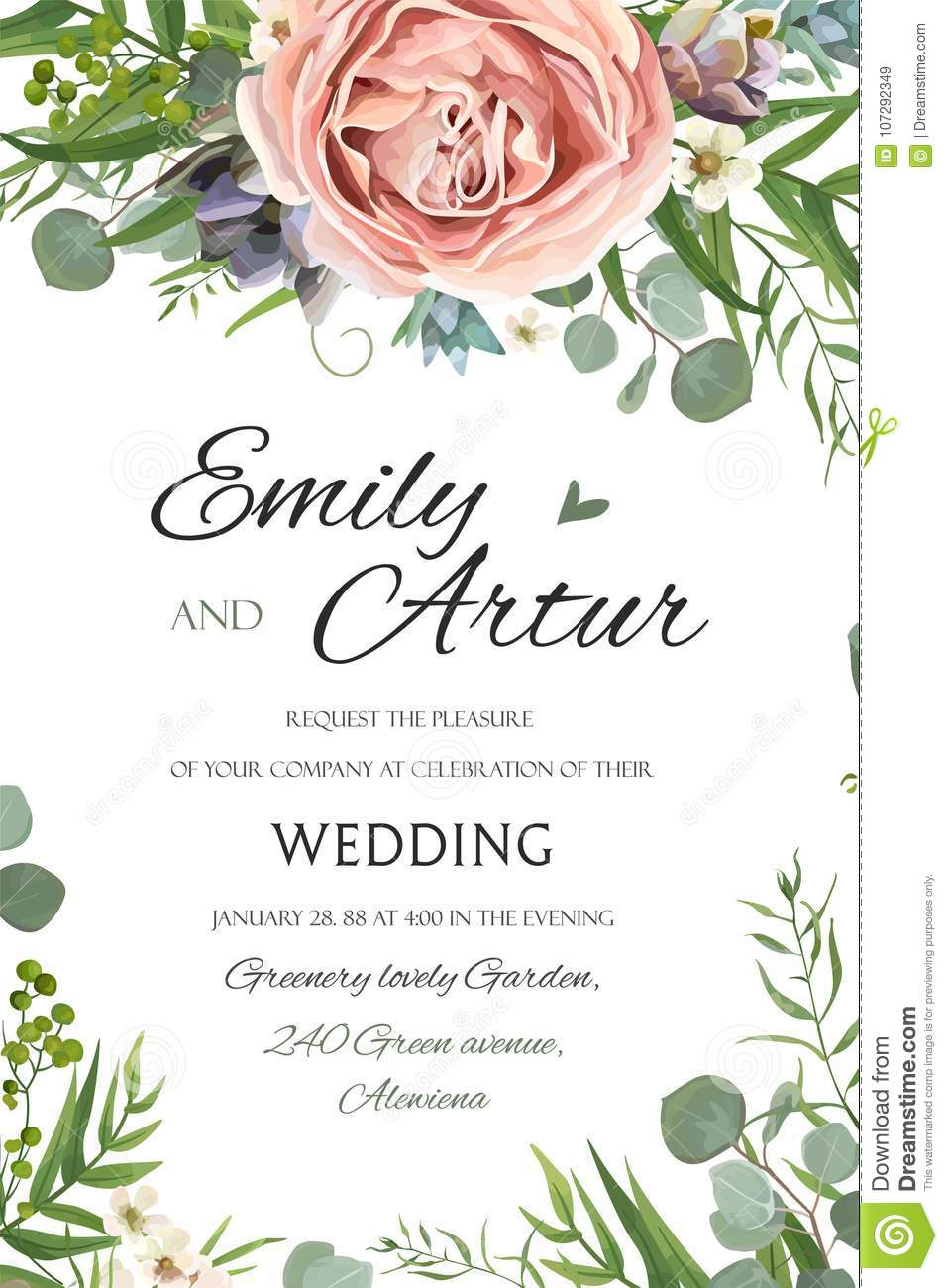 Wedding Invitation Invite Save The Date Floral Card