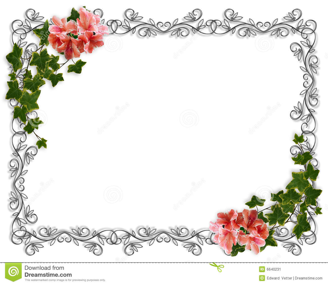 wedding invitation ivy floral border stock illustration