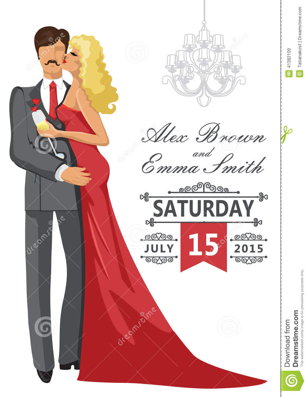 Wedding Invitation Kissing Couple With Chandeliers Stock Vector ...