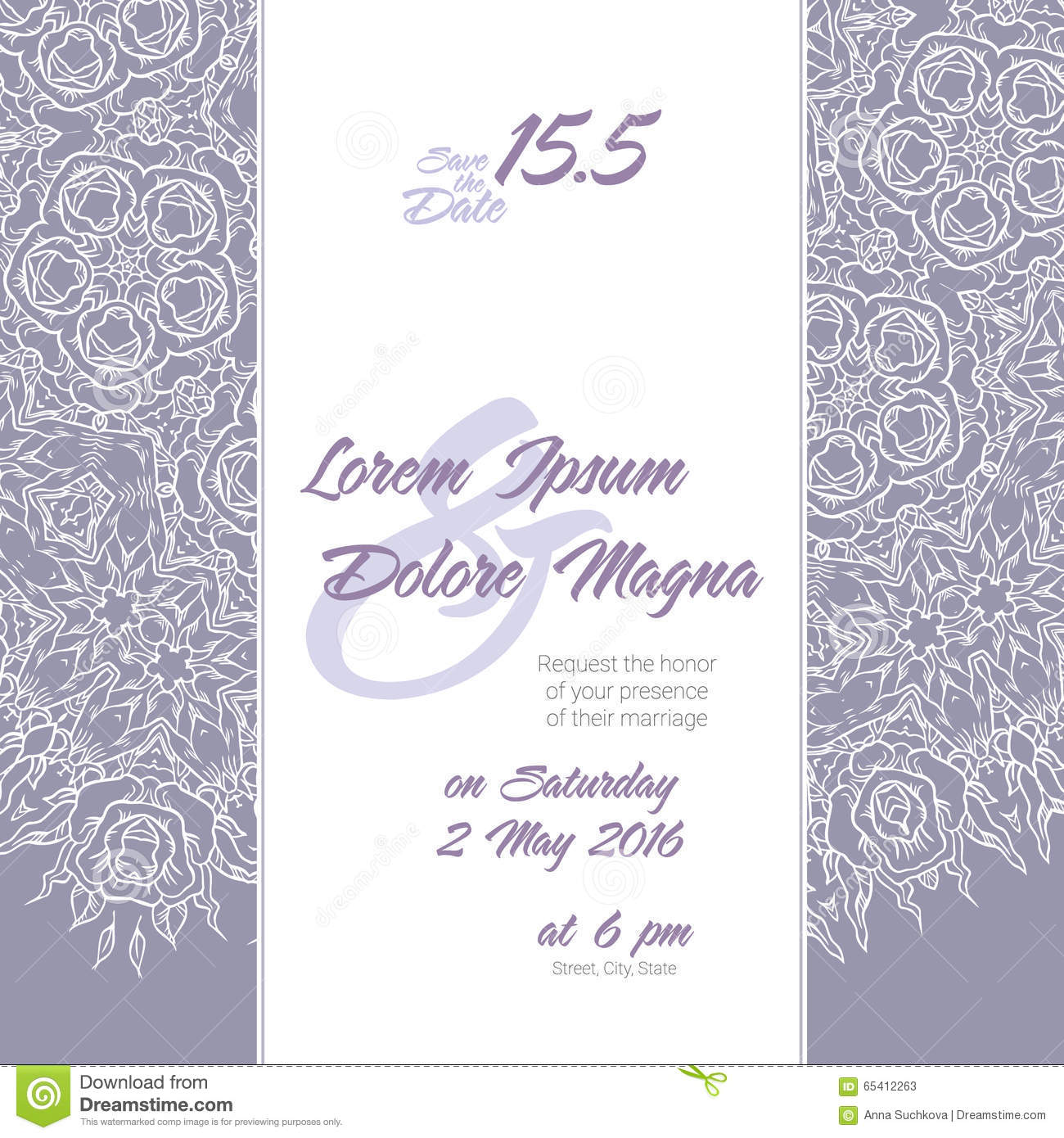 Wedding Invitation With Lace Background Stock Vector