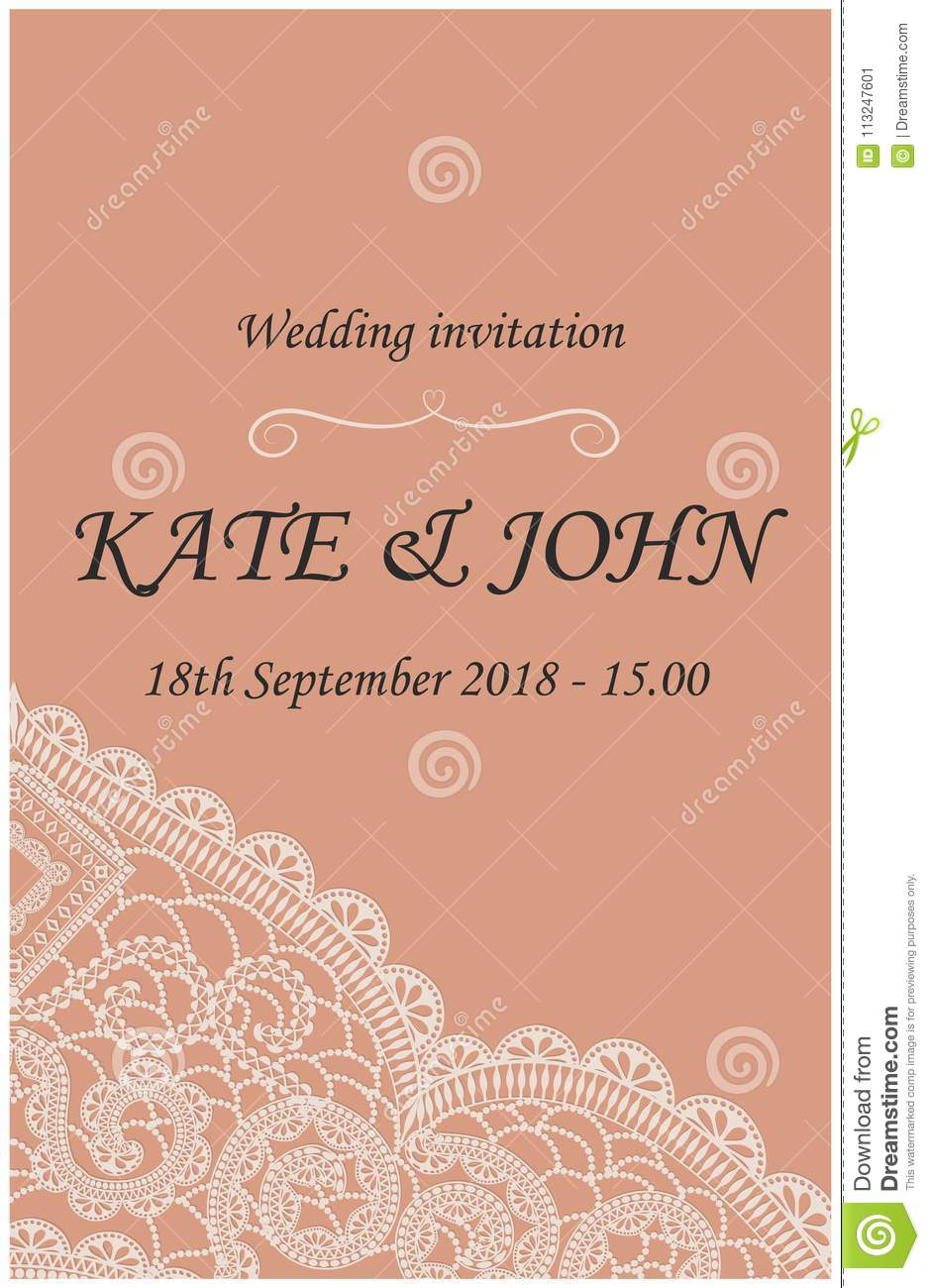 Wedding invitation with lace stock illustration illustration of download wedding invitation with lace stock illustration illustration of decorative vector 113247601 stopboris Images