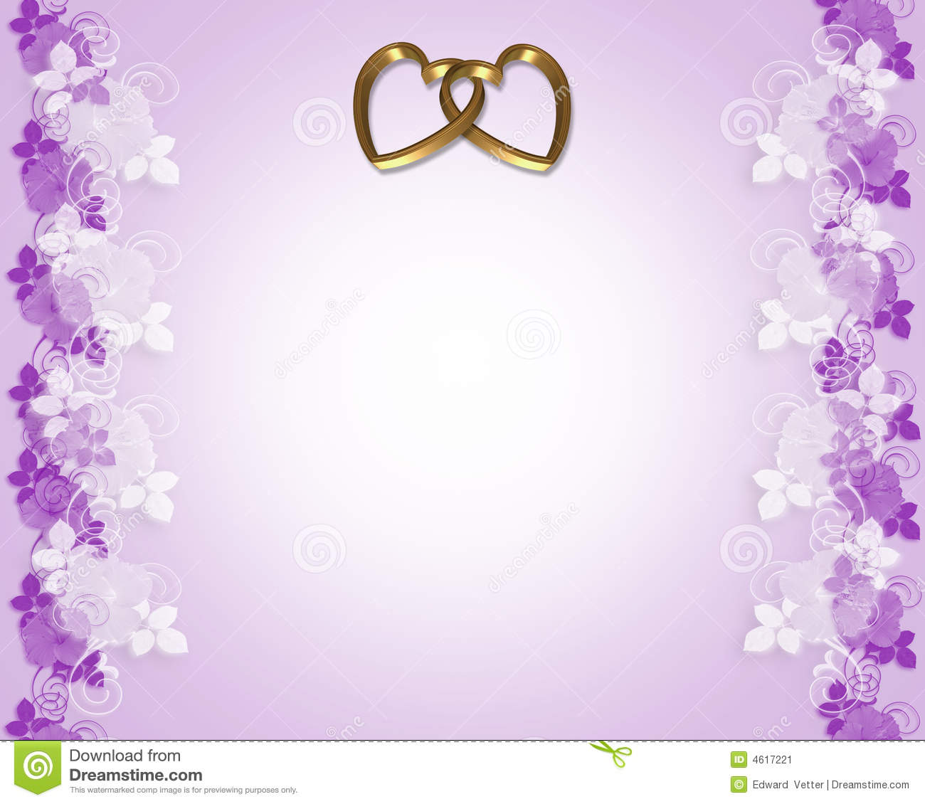 Wedding Invitation Lavender Gold Hearts Stock Illustration
