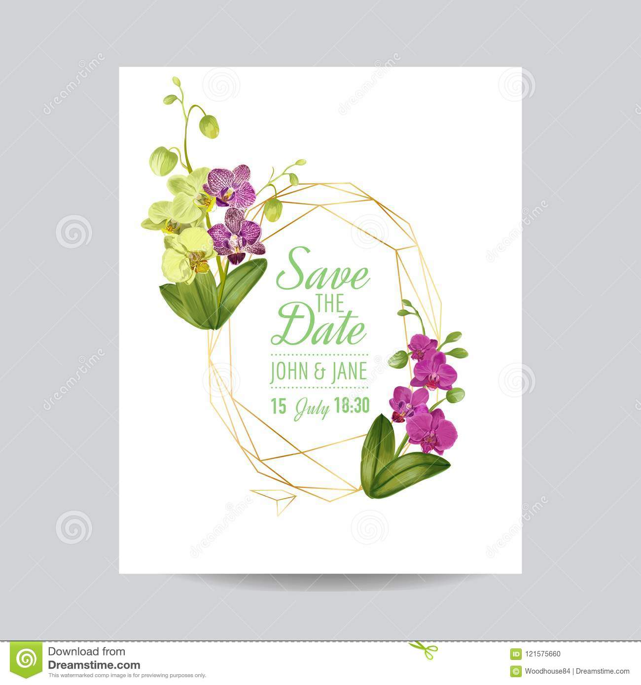 Wedding Invitation Layout Template With Orchid Flowers. Save The ...