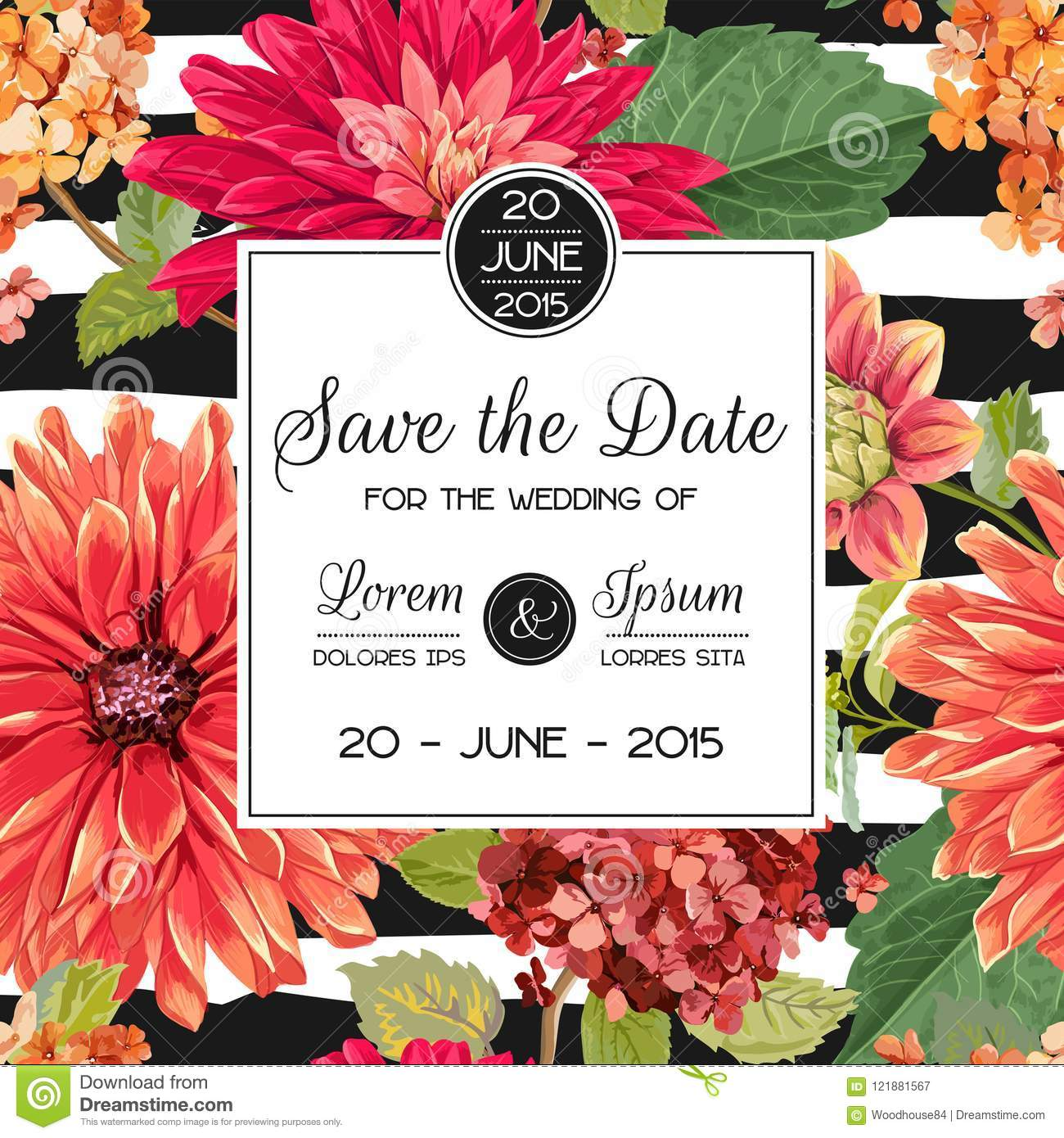 Wedding Invitation Layout Template With Red Asters Flowers Save The