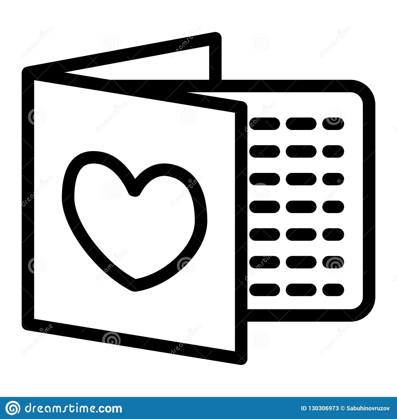 Wedding Invitation Line Icon Letter With Heart Vector Illustration
