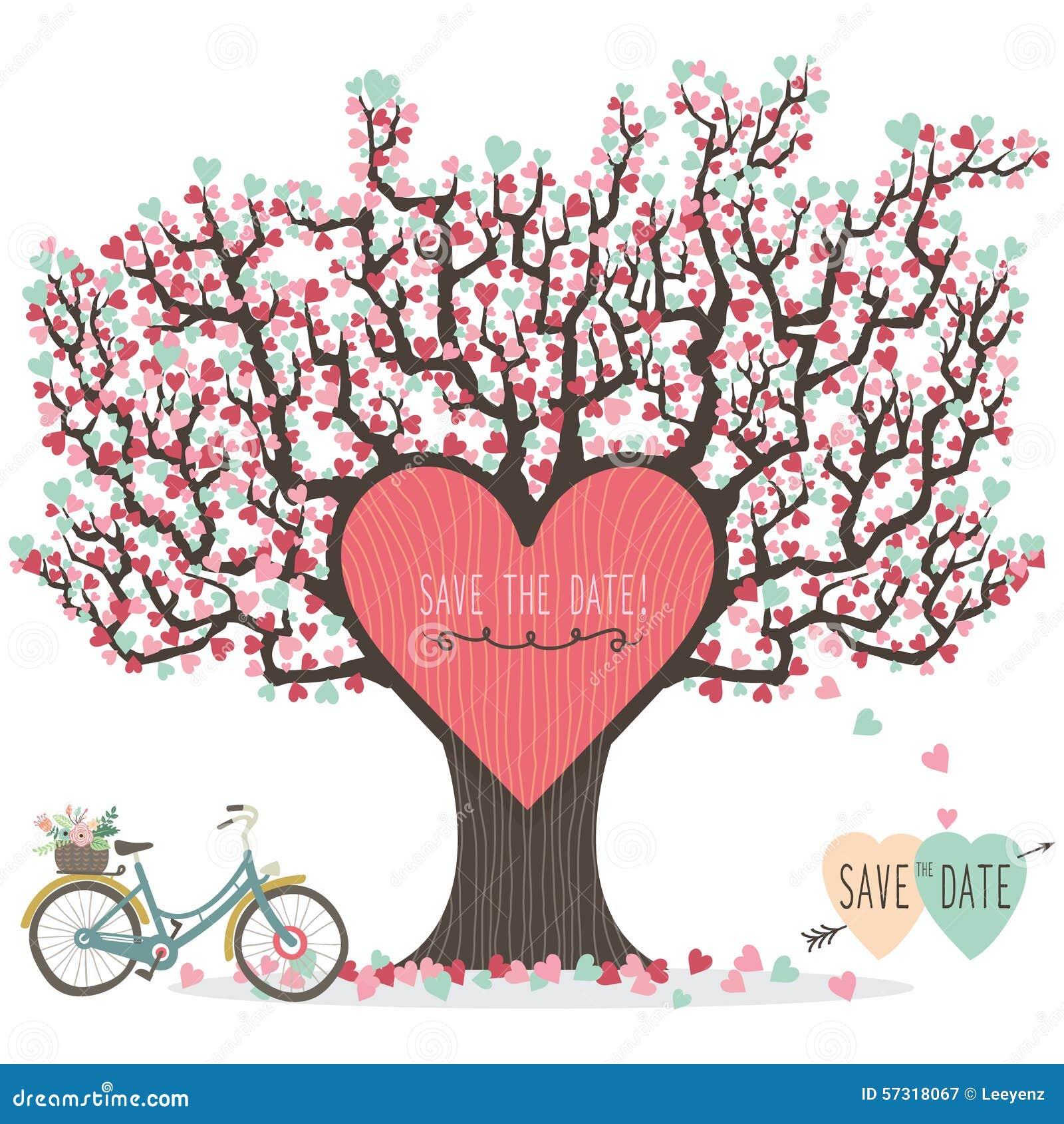 Wedding Invitation Love Tree Stock Vector - Image: 57318067