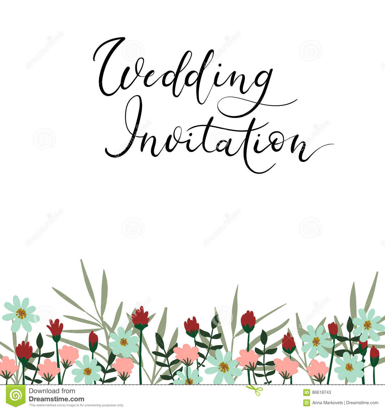 Wedding invitation modern calligraphy card vector hand