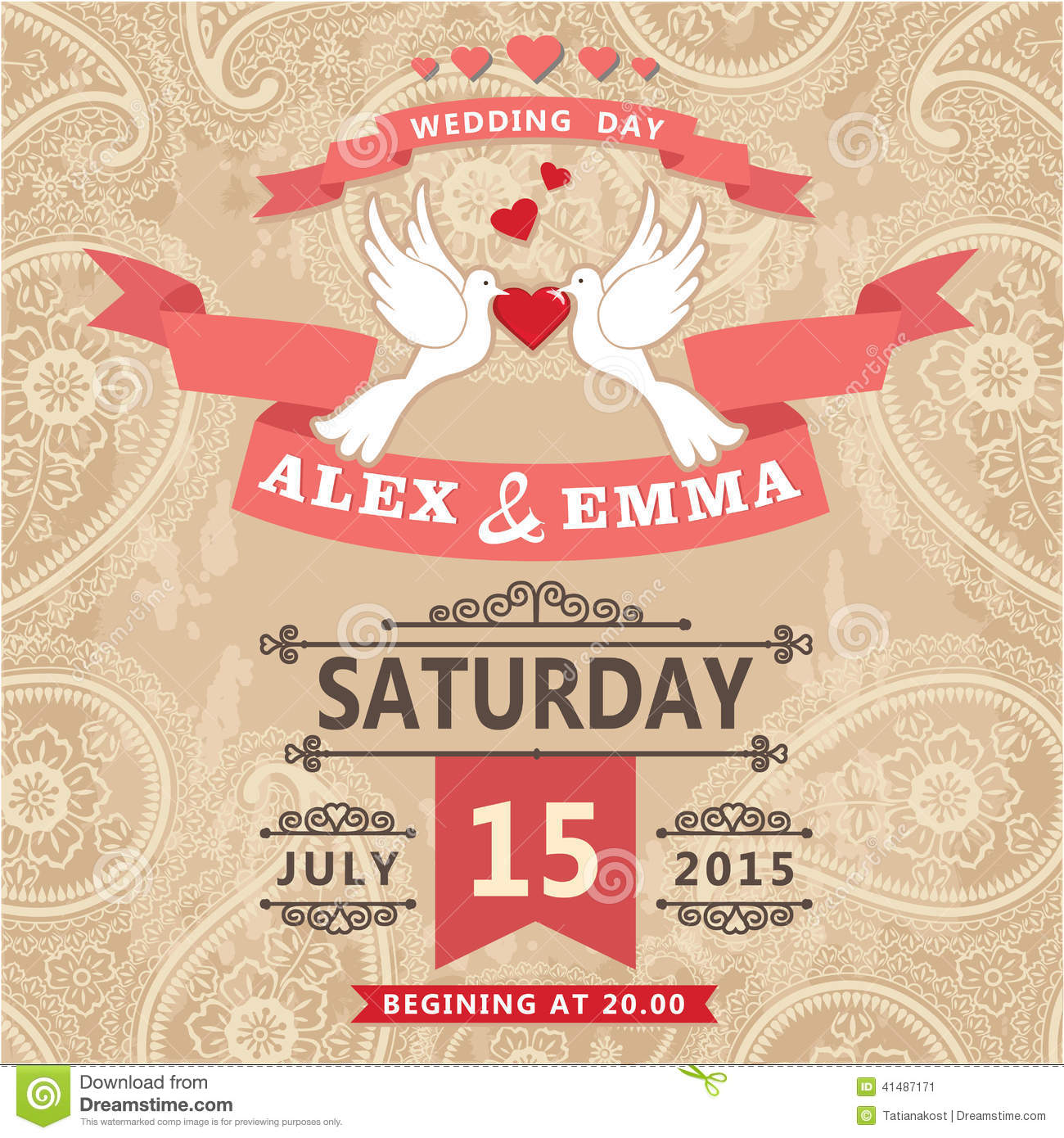Wedding Invitation With Pigeon Couple And Paisley Lace Stock
