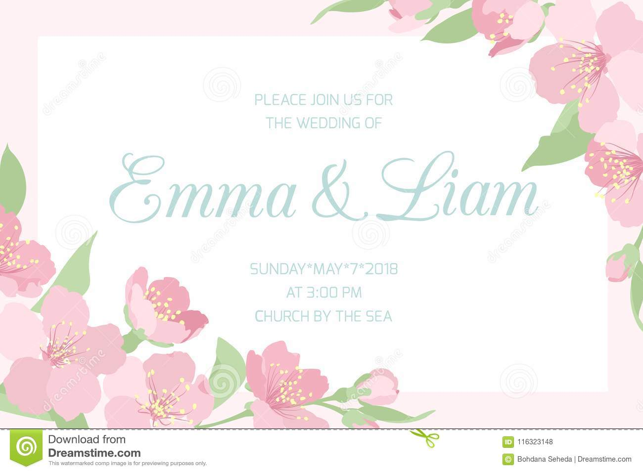 Wedding Invitation Pink Cherry Sakura Horizontal Stock Illustration