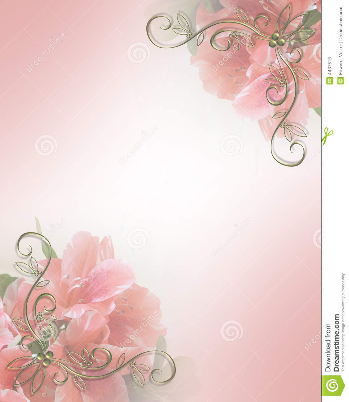 Wedding Invitation Pink Floral Design Royalty Free Stock