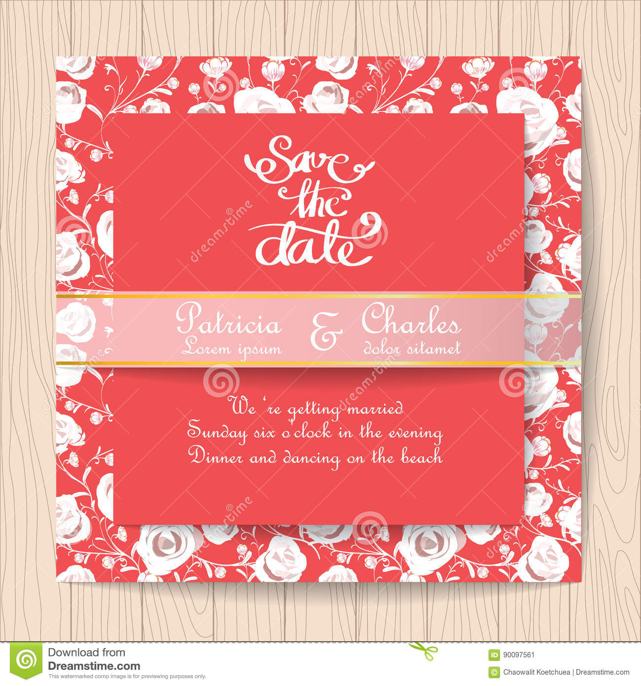 Wedding Invitation Red Card With White Rose Flower Templates Stock ...